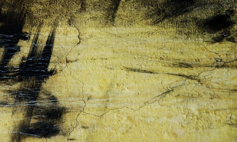 黄色的难看的东西,具体地板背景黑白刷子冲程墙壁纹理创作摘要的 库存图片