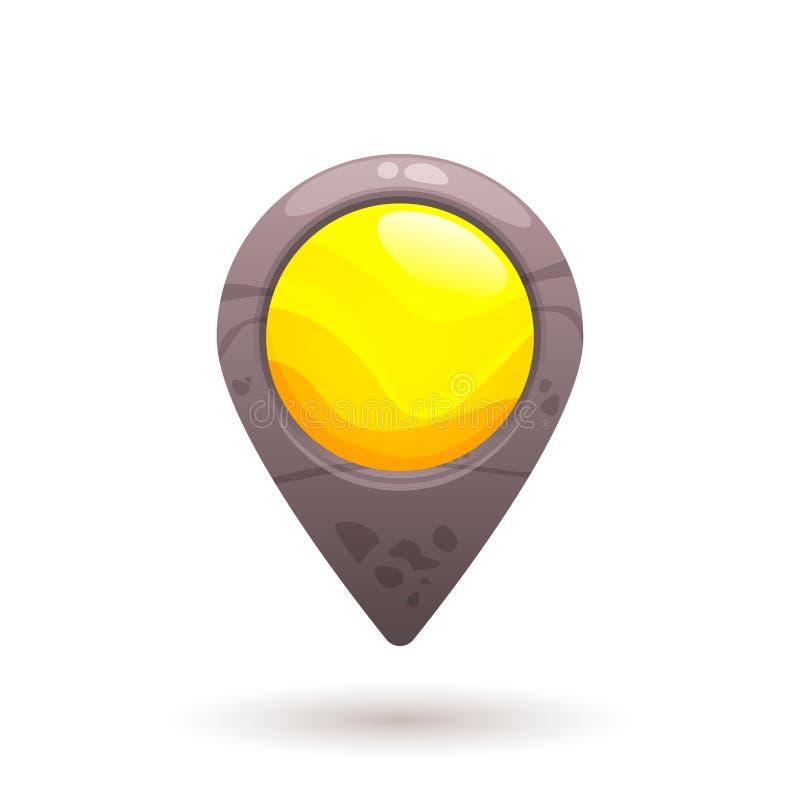 黄色石地图尖,标志 免版税库存图片