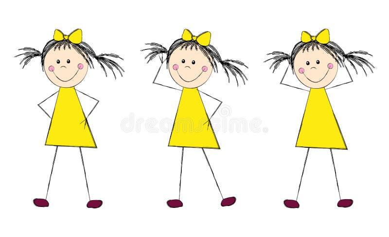 黄色礼服的滑稽的女孩 库存例证