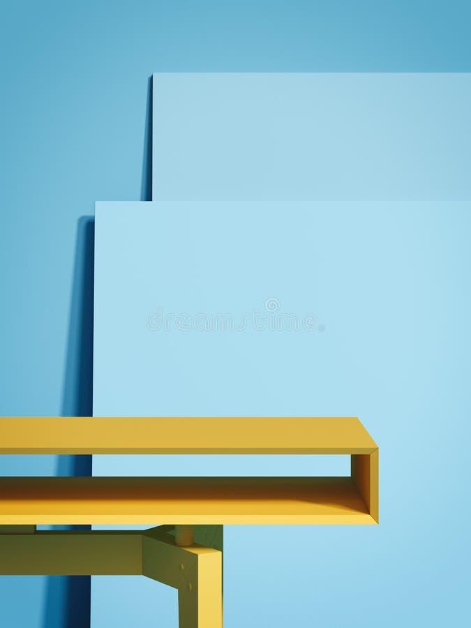黄色空的桌和两个蓝色画框 3d翻译 向量例证