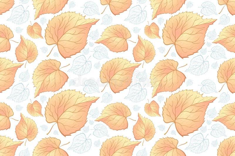 黄色红色和橙色的秋叶 背景秋天无缝样式的板料 蕨的叶子 织品的样式 ? 皇族释放例证