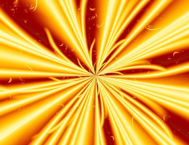 黄色红色现代抽象分数维艺术 与能量光爆炸的简单的背景例证 创造性的图表模板, fre 皇族释放例证