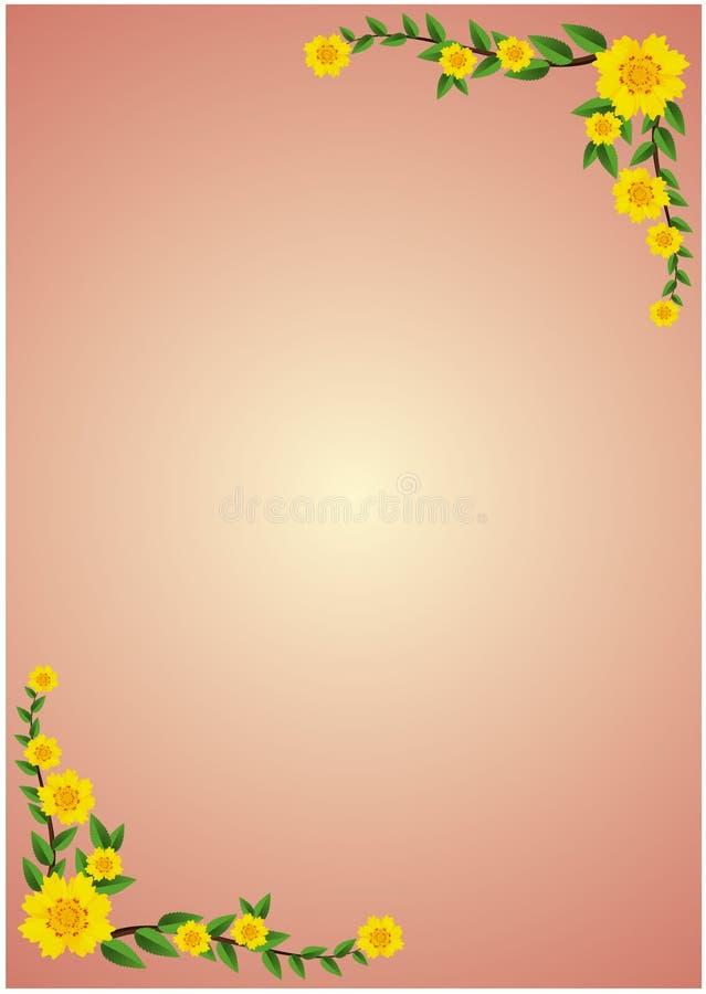 黄色纹理开花开花与在火红色背景装饰的框架的绿色叶子与藤与空间的背景纹理 库存例证