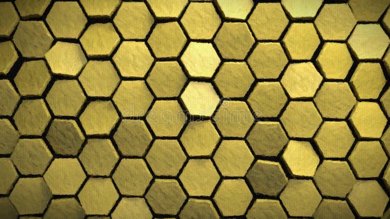 黄色绘画作用六角形背景3d回报 库存例证