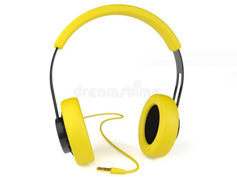黄色耳机3D。 图标。 皇族释放例证