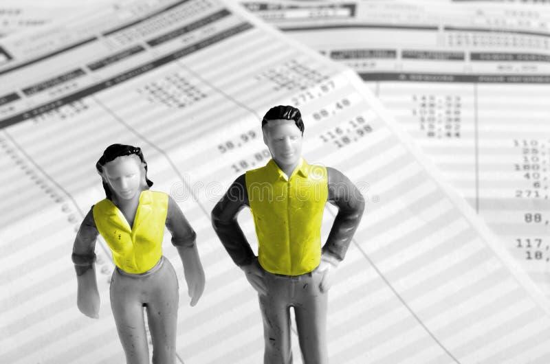 黄色背心人和妇女,法国 免版税图库摄影