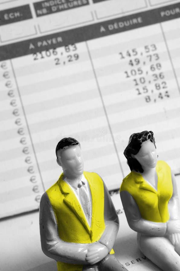 黄色背心人和妇女,法国 免版税库存照片