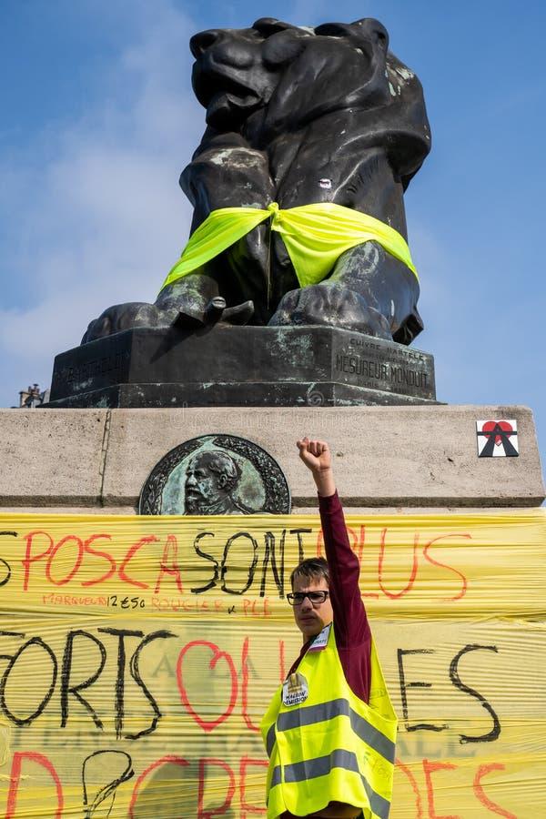 黄色背心 ActeXIX 巴黎,法国,2019年3月23日 图库摄影