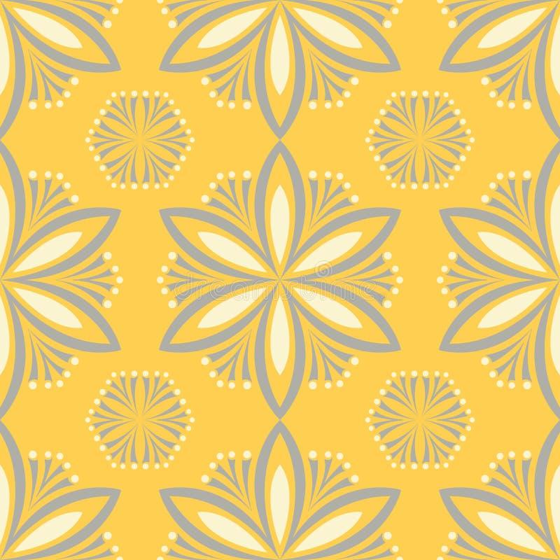 黄色花卉无缝的样式 与花设计的背景 库存例证