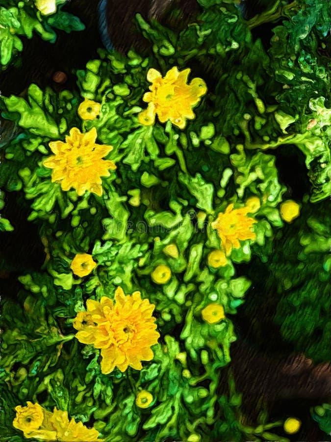 黄色花和绿色叶子-背景影像抽象绘画  皇族释放例证