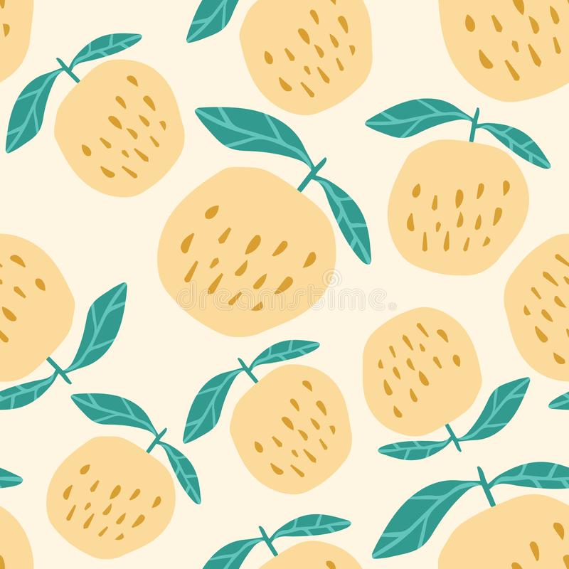 黄色苹果无缝的样式 逗人喜爱的甜苹果在手中拉长的样式 向量例证