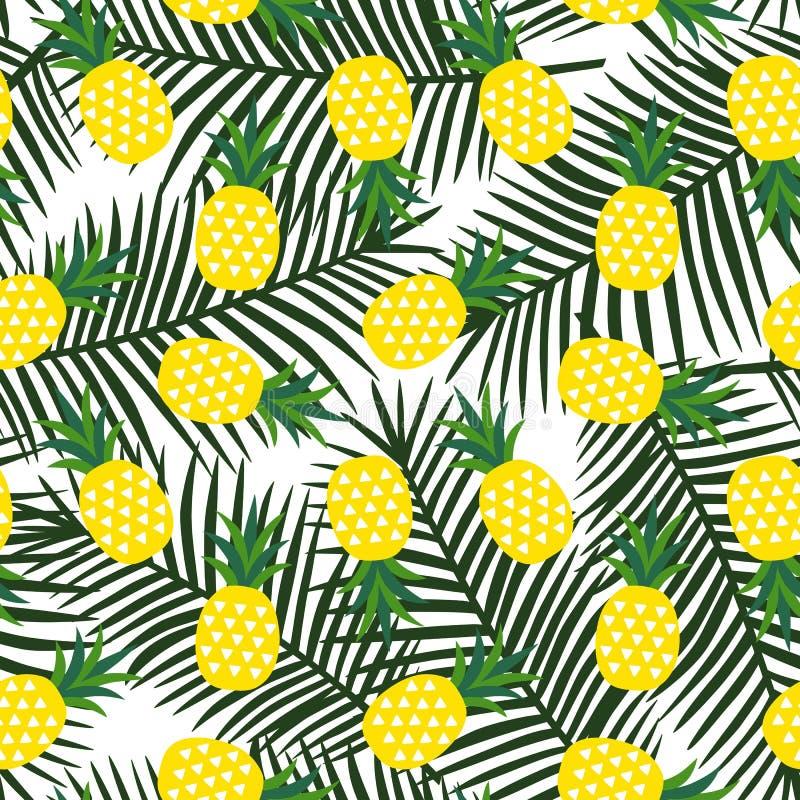 黄色菠萝与热带三角几何果子的夏天 库存例证