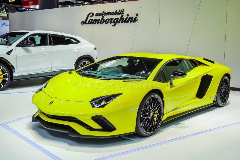 黄色蓝宝坚尼Aventador被显示在泰国第40国际Motorshow 2019年 库存图片