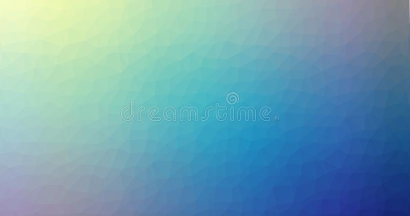 黄色蓝色梯度低多三角几何多角形正方形迷离玻璃抽象传染媒介背景 库存例证