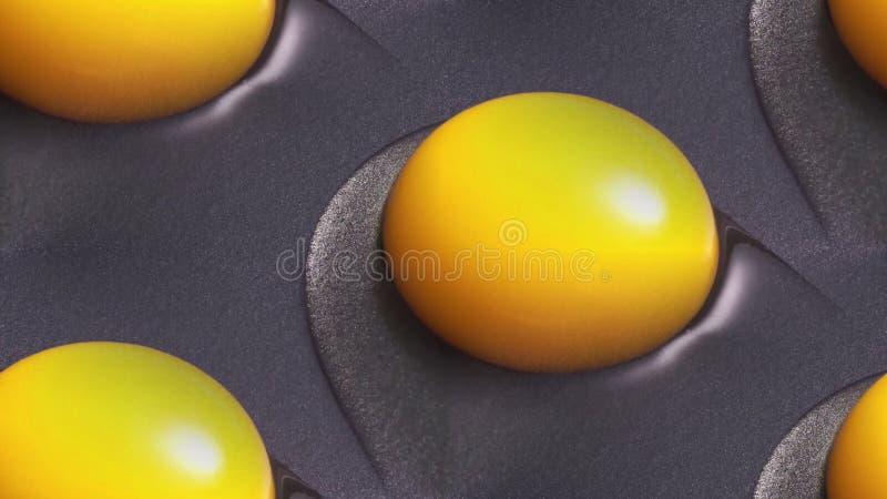 黄色蛋黄在长柄浅锅被烹调 库存图片