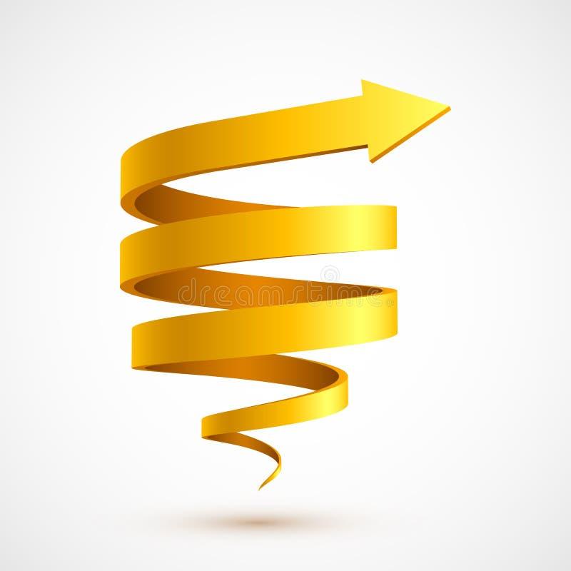 黄色螺旋箭头3D 库存例证