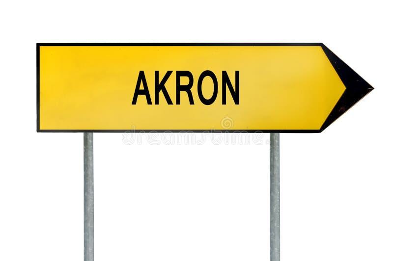 黄色街道概念标志在白色隔绝的阿克伦 免版税图库摄影