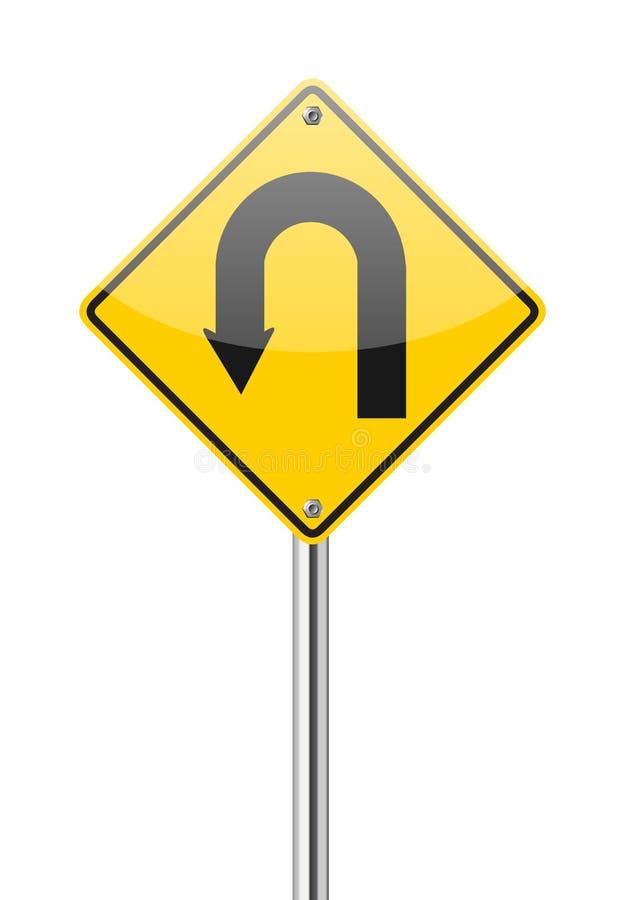 黄色警报信号U字型转向路标 向量例证