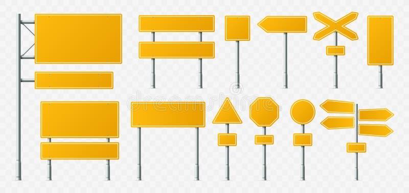 黄色路标 空的路牌、运输路板和牌在金属立场现实传染媒介例证 向量例证