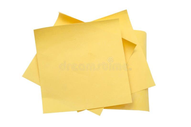 黄色通知单纸张 图库摄影