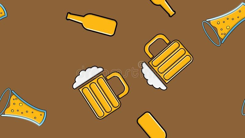 黄色重复的酒精啤酒杯玻璃的无缝的样式与啤酒泡沫的蛇麻草杯的麦芽在褐色的工艺贮藏啤酒 库存例证