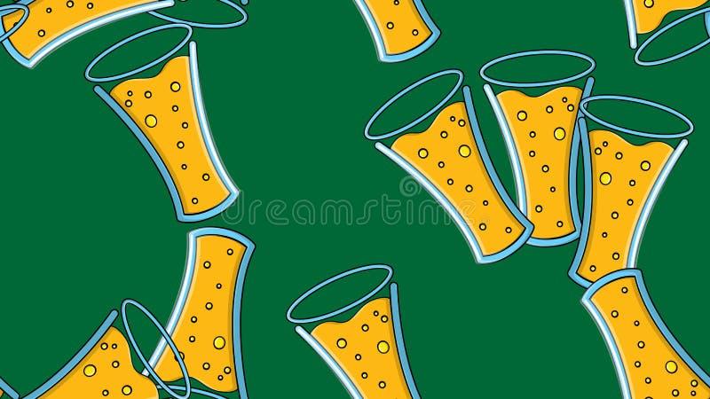 黄色重复的酒精啤酒杯玻璃的无缝的样式用在绿色背景的啤酒泡沫的蛇麻草啤酒麦芽工艺贮藏啤酒 库存例证
