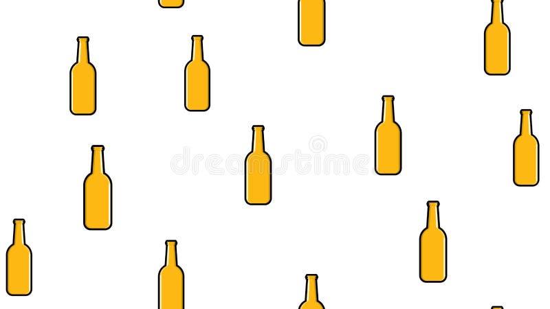 黄色重复的酒精啤酒杯瓶的无缝的样式用在白色的啤酒泡沫的蛇麻草玻璃麦芽工艺贮藏啤酒 皇族释放例证