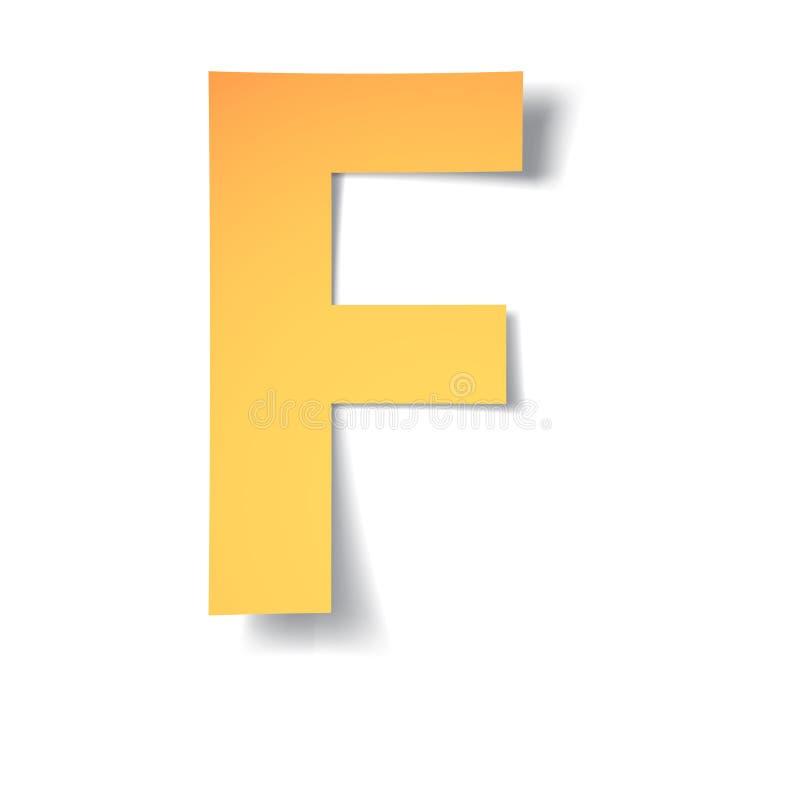 黄色金子信件F从与软的阴影的纸雕刻了 向量 皇族释放例证