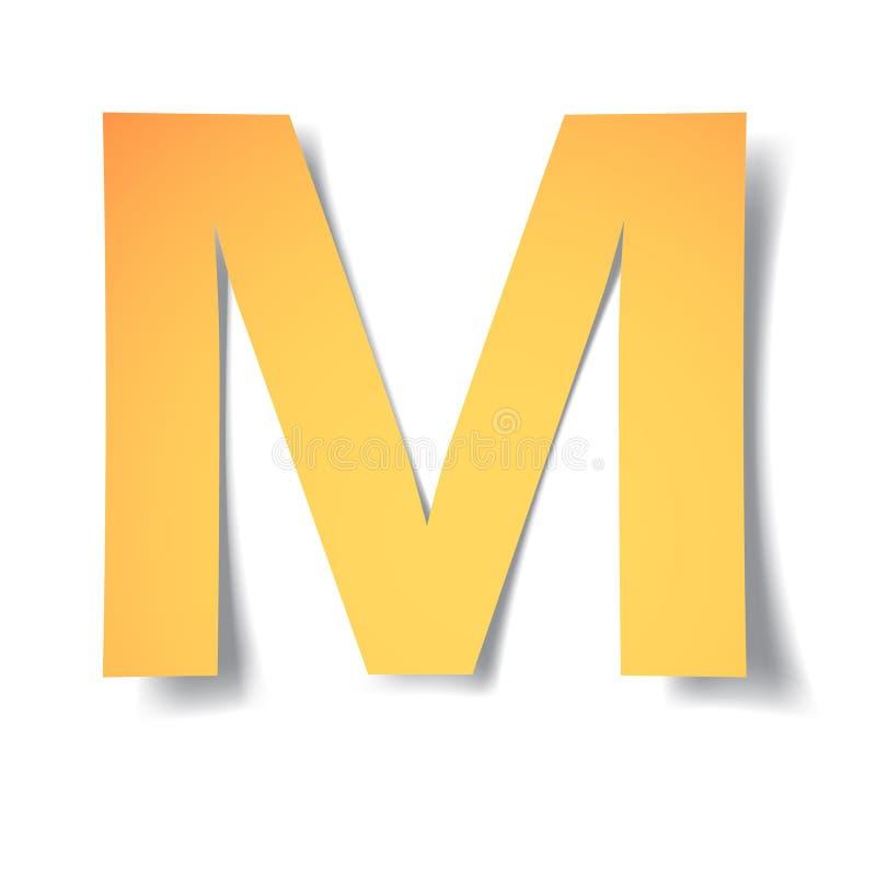 黄色金子信件M从与软的阴影的纸雕刻了 传染媒介origami 向量例证