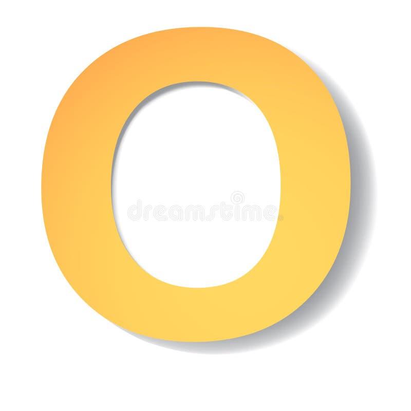 黄色金子信件O从与软的阴影的纸雕刻了 传染媒介origami 向量例证