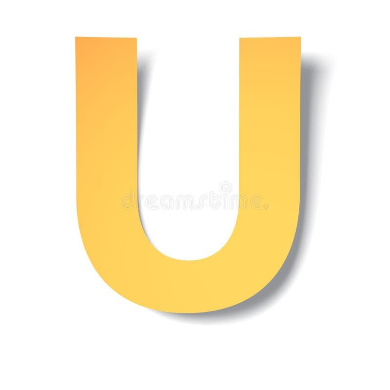 黄色金子信件U从与软的阴影的纸雕刻了 传染媒介origami 向量例证