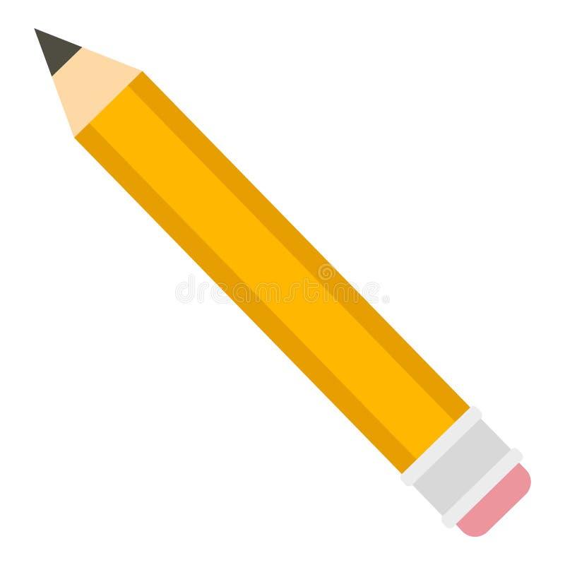 黄色铅笔象,平的样式 皇族释放例证