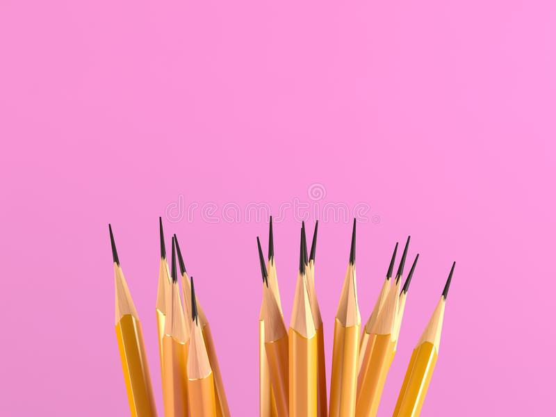 黄色铅笔Goup有桃红色背景 库存例证