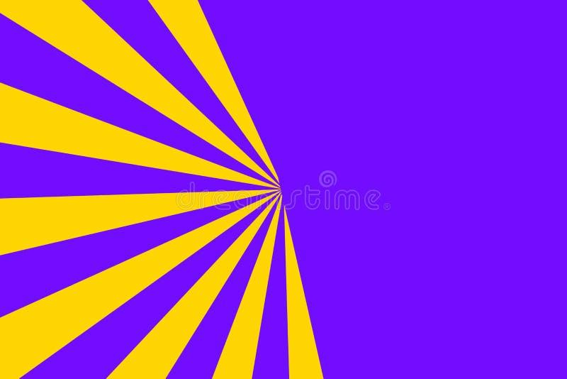 黄色镶有钻石的旭日形首饰的光芒透视图反对坚实淡紫色背景的 数字行销的创造性的照片设计 库存例证