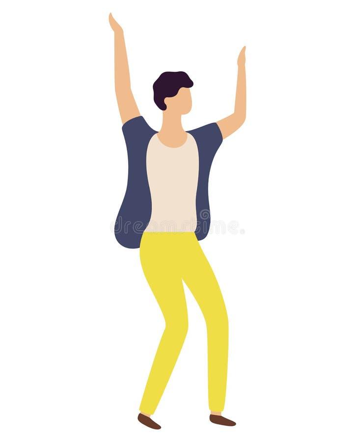 黄色长裤的跳舞的人隔绝了舞蹈家 库存例证