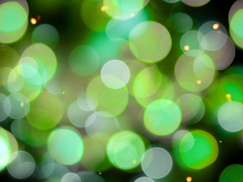 黄色闪烁效应的圆模糊白绿模糊光背景 向量例证