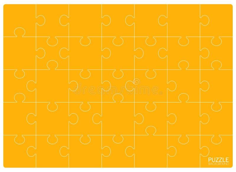 黄色难题栅格模板 拼图24个片断 向量例证