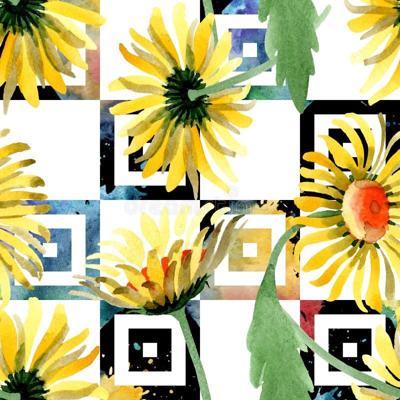 黄色雏菊花卉植物的花 水彩背景例证集合 无缝的背景模式 图库摄影