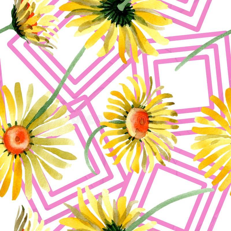 黄色雏菊花卉植物的花 水彩背景例证集合 无缝的背景模式 免版税库存照片