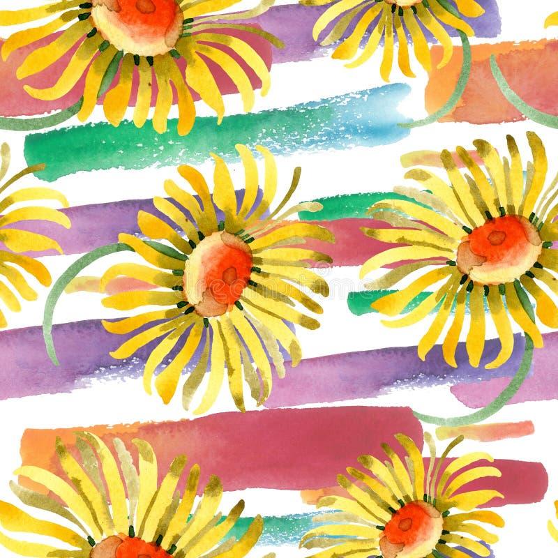 黄色雏菊花卉植物的花 水彩背景例证集合 无缝的背景模式 库存照片