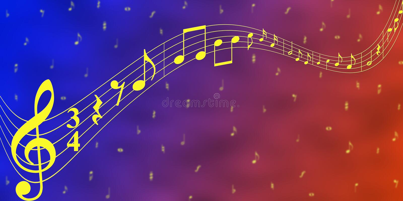 黄色音乐笔记在蓝色和红色横幅背景中 向量例证
