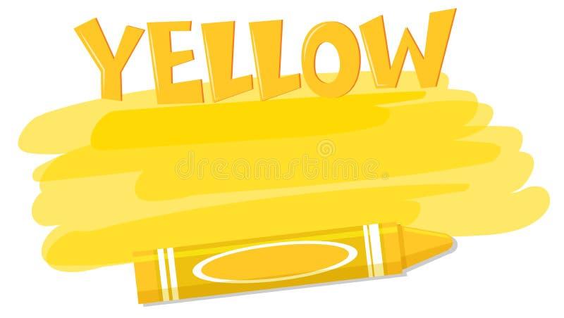 黄色颜色油漆和蜡笔 皇族释放例证