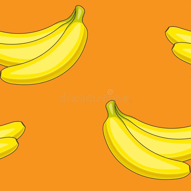 黄色香蕉的无缝的传染媒介样式在橙色背景的 黄色果子 打印布料纸横幅 向量例证