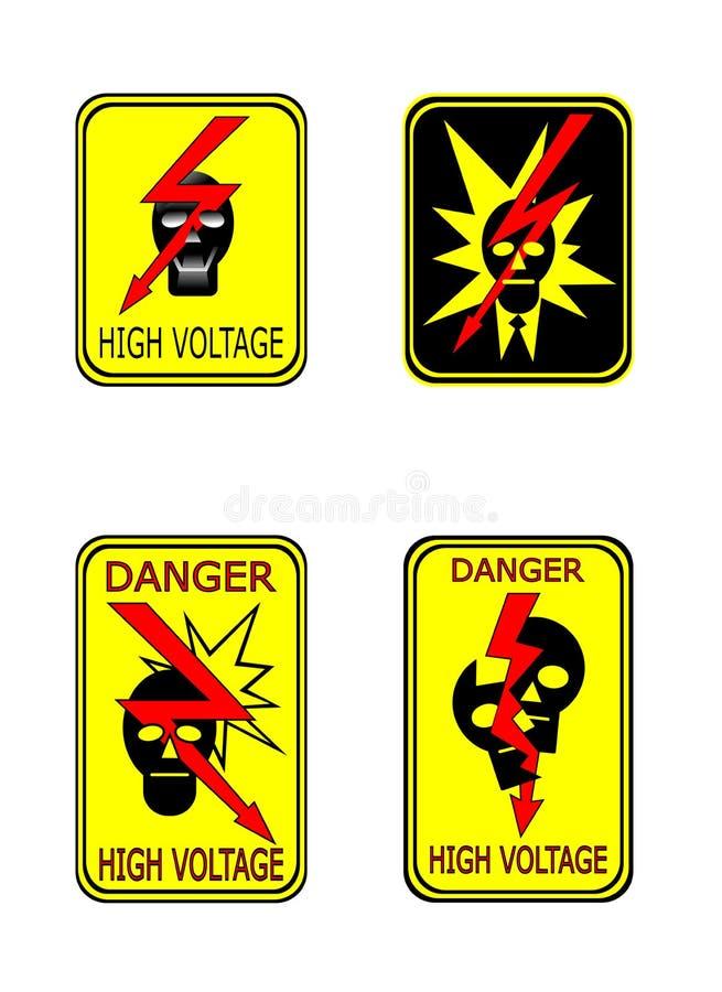 黄色高压道路危险标志 向量例证
