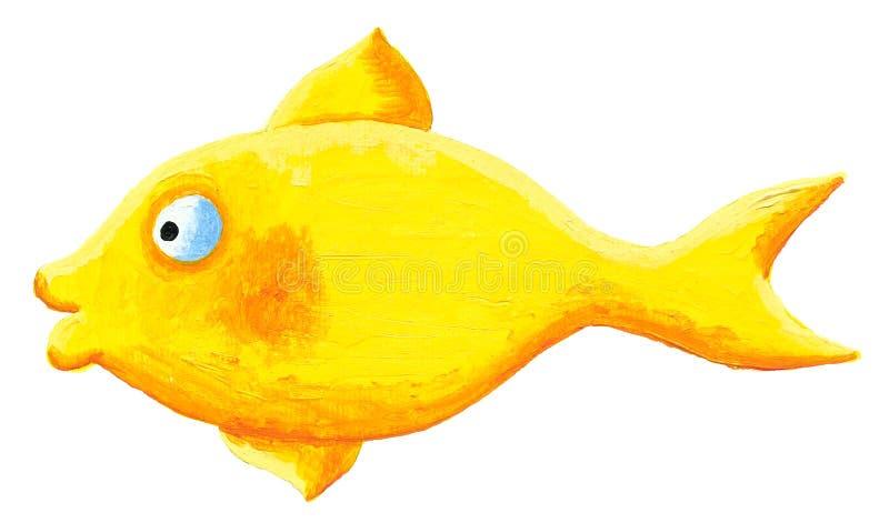黄色片和动物干_黄色鱼的丙烯酸酯的例证