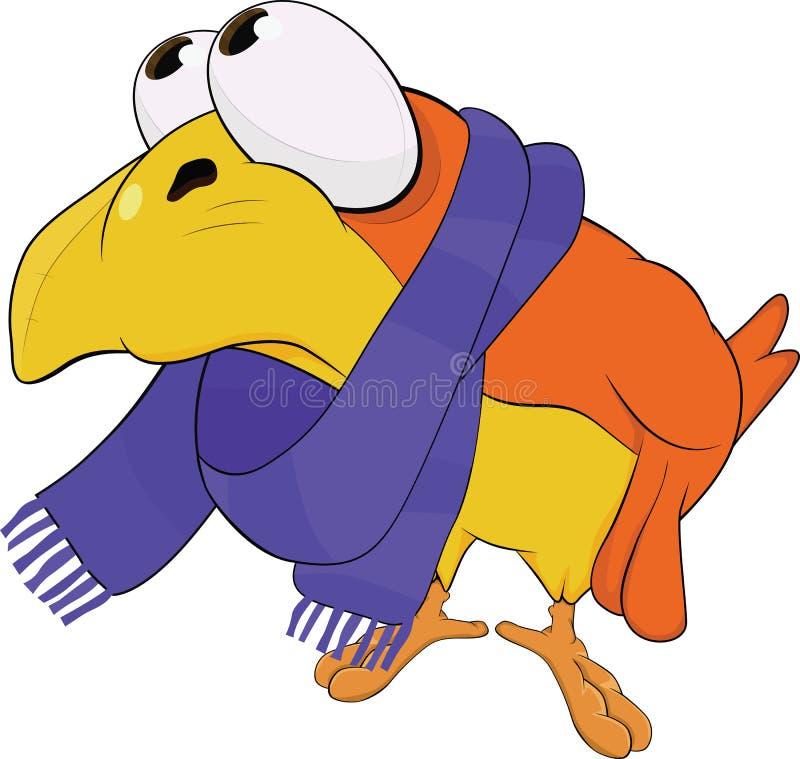 黄色鸟,在围巾。 动画片 向量例证