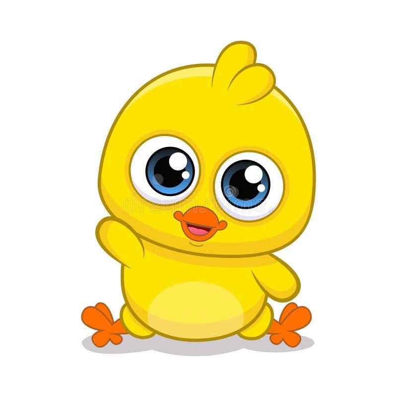 黄色鸡动画片 动画片鸡的例证 库存例证