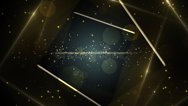 黄色,有霓虹线的光金真正抽象背景空间隧道 库存例证