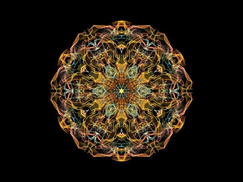 黄色,珊瑚和蓝色抽象火焰坛场花,在黑背景的装饰花卉圆的样式 瑜伽题材 库存例证