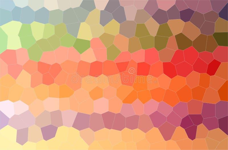 黄色,蓝色,桔子,红色和绿色中间大小六角形水平的背景的例证 皇族释放例证